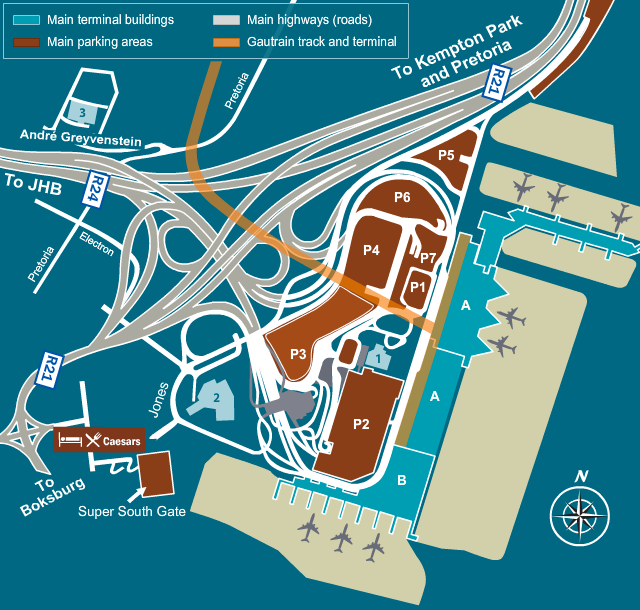 or tambo terminal map Parking Maps or tambo terminal map